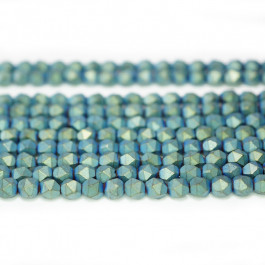 Matte Green Hematite 4x4mm Diamond Cut Beads