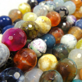 Fire Agate Multi-Colour 8mm Faceted Round Beads
