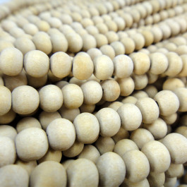 Natural White Wood 6x7mm Round Wood Beads