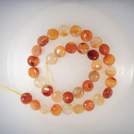 Natural Colour Carnelian 12mm Coin Beads