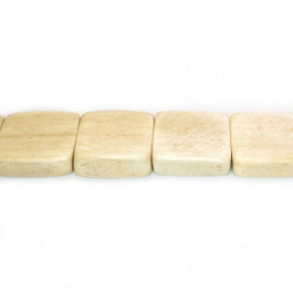 Natural White Wood Flat Square Beads