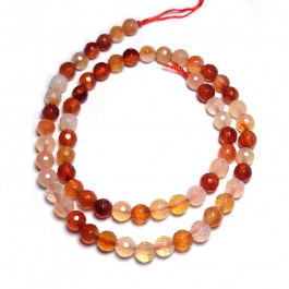 Natural Colour Carnelian Faceted 6mm Round Beads