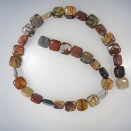 Picasso Jasper 12mm Square Beads