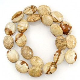 Picture Jasper 15x18mm Oval Beads