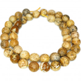 Picture Jasper 8mm Faceted Round Beads