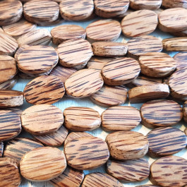 Palmwood Small Flat Oval Wood Beads