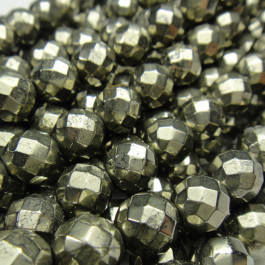 Pyrite 6mm Faceted Round Beads