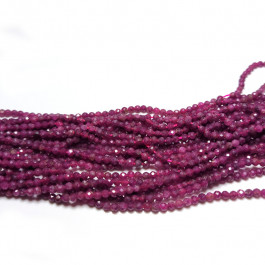 Ruby Faceted 3mm Round Beads