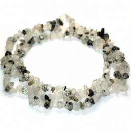 Black Rutilated Quartz Chip Beads