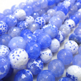 Fire Agate Sky Blue 8mm Faceted Round Beads