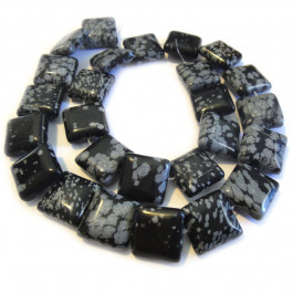 Snowflake Obsidian 16mm Square Beads