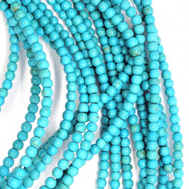 Synthetic Turquoise 4mm Round Beads