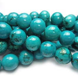 Stabilised Turquoise 10mm Round Beads