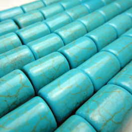 Reconstituted Turquoise Barrel Beads