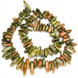 Unakite Long Chip Beads