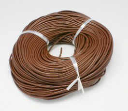 Saddle Brown Cowhide Leather Cord 2mm Round 10M Roll