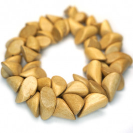 Natural White Wood Pointed Nugget Wood Beads