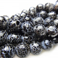 Fire Agate Black Faceted 8mm Round Beads