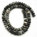 Black Veined Jasper 8x5mm Rondelle Beads