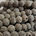 Dyed Lava Rock Grey 8mm Round Beads