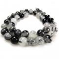 Black Tourmalinated Quartz 10mm Round Beads