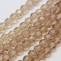Burly Wood 4mm Faceted Round Glass Beads