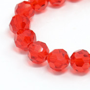 Red 8mm Faceted Round Glass Beads