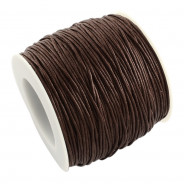 Dark Brown Waxed Cotton Cord 1mm 90M Roll
