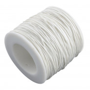 White Waxed Cotton Cord 1mm 90M Roll