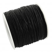 Black Waxed Cotton Cord 1mm 90M Roll