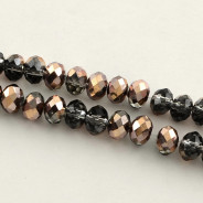 Coconut Brown Half Plated 6x4mm Faceted Abacus Glass Beads