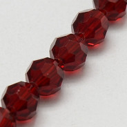 Dark Red 6mm Faceted Round Glass Beads