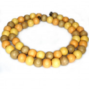 Natural White Wood Mixed Colour Beads - Apricot, Taupe and Champagne