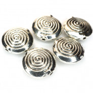 Tibetan Silver 12x4.5mm Disc Beads (Pack 5)