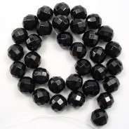 Black Onyx 12mm Faceted Round Beads