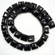 Black Onyx 12mm Square Beads