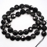 Black Onyx 12mm Faceted Coin Beads