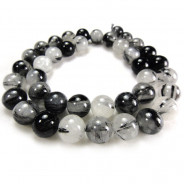 Black Tourmalinated Quartz 10mm Round Beads