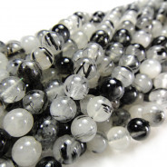 Black Tourmalinated Quartz 6mm Round Beads