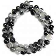 Black Tourmalinated Quartz 8mm Round Beads