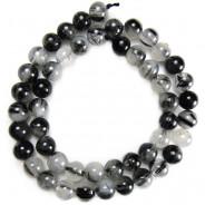 Black Tourmalinated Quartz 8mm Round Beads