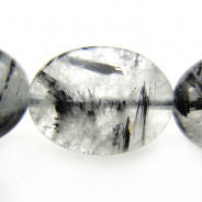 Black Tourmalinated Quartz Oval Beads