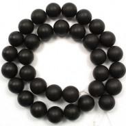 Black Stone (Matte) 12mm Round Beads