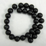 Black Stone (Matte) 14mm Round Beads