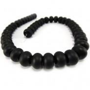 Black Stone (Matte) 9x12mm Rondelle Beads