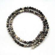 Black Veined Jasper 4mm Round Beads