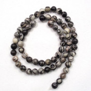 Black Veined Jasper 6mm Round Beads
