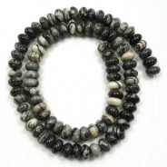 Black Veined Jasper 8x5mm Rondelle Beads