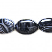 Brazilian Black Sardonyx 13x18mm Oval Beads