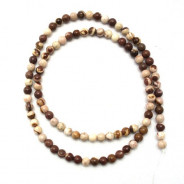 Brown Zebra Jasper 4mm Round Beads